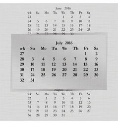 Calendar month for 2016 pages july vector