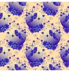 Pattern with moon succulents and butterflies vector