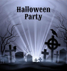 Halloween party with eery white light on a spooky vector