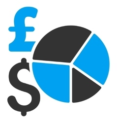 Pound and dollar pie chart flat icon symbol vector