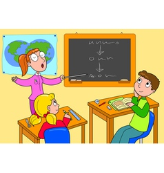 Teacher and pupils in a classroom vector