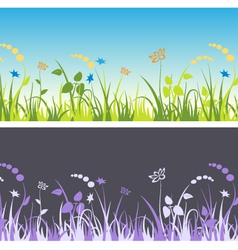Grass and flowers patterns vector