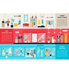 Shopping center and boutique rooms flat shop vector