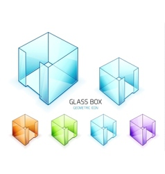 Glass note paper containers icon set vector