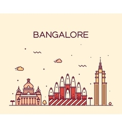 Bangalore skyline linear vector image