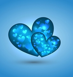 Beautiful heart in blue background vector