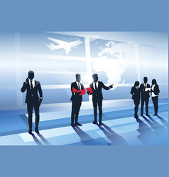 business team silhouette in airport businesspeople vector image vector image