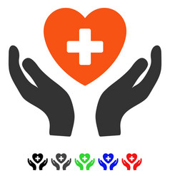 Cardiology care hands flat icon vector