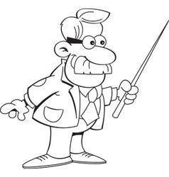 Cartoon teacher holding a pointer vector image vector image
