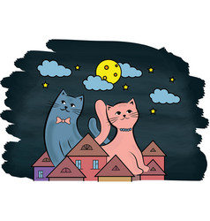 Cats on the roof at night the moon and stars vector