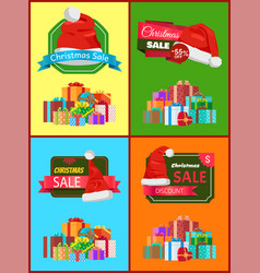 Christmas sale promotional posters set with gifts vector