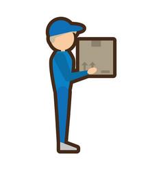 Delivery man handing box vector