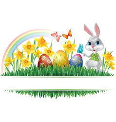 Easter horizontal frame vector image vector image