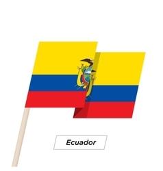 Ecuador Ribbon Waving Flag Isolated on White vector image vector image