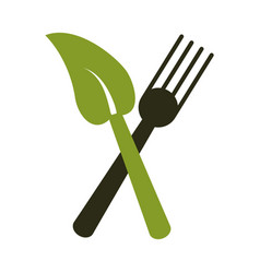Fork leave healthy food symbol vector