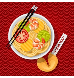 Fried noodles with chopsticks and fortune cookie vector