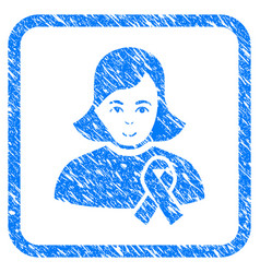 Girl with sympathy ribbon framed stamp vector