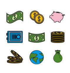 Global coins and bills money with tools save vector