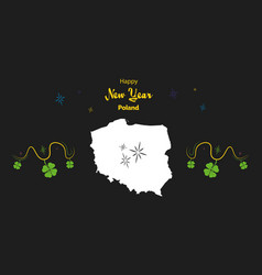 Happy new year theme with map of poland vector