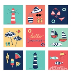 hello summer icons square colorful vector image vector image
