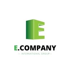 Isometric gradient e letter logo company vector