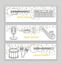 music festival banner line art vector image