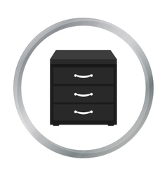 Office filing cabinet icon in cartoon style vector