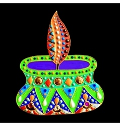 original painting with jewels and pearls of diwali vector image