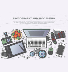 Photography and processing top view banner vector