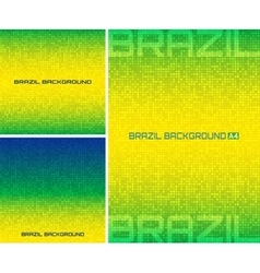 Set of pixel digital background Brazil flag colors vector image