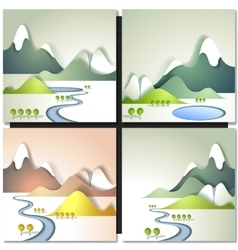 Snow mountain and river flowing in a valley vector