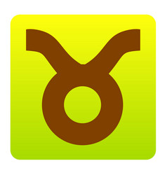 Taurus sign brown icon at vector