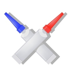 Two Metalic Tubes of Glue vector image