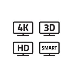 Ultra hd 4k smart tv format television icons 3d vector image vector image