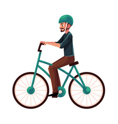 Young man guy riding urban bicycle cycling in vector