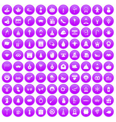 100 holidays icons set purple vector image