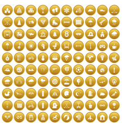 100 kids games icons set gold vector