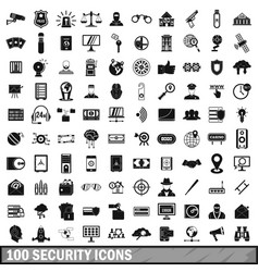 100 security icons set simple style vector image