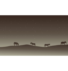 Silhouette of zebra in hills scenery at nigh vector