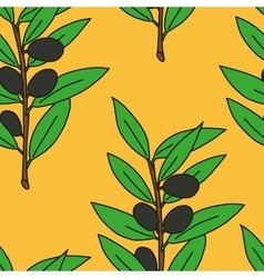 Seamless pattern olive branch vector