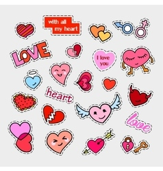 Fashion patch badges hearts set stickers pins vector