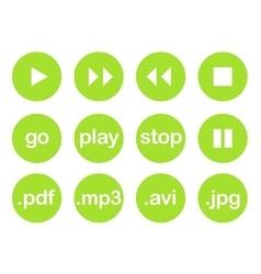 Play button or flat green web icon set vector