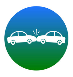 Crashed cars sign  white icon in bluish vector