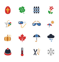 Seasons icon set vector