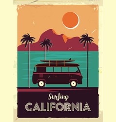 grunge retro metal sign with palm trees and van vector image