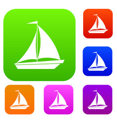 Boat with sails set collection vector