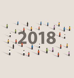 2018 new year resolution and target crowd looking vector