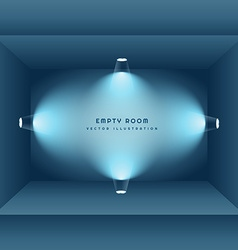3d empty room with lights vector