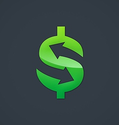 Dollar sign arrow trade business logo vector