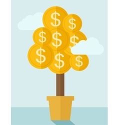 Money plant on a pot vector image